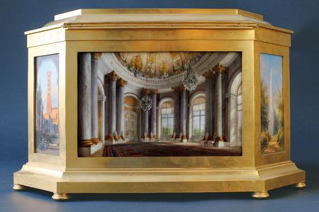 tsarskoye: Tsarskoye Selo, Russia - 05 March 2015: Tsarskoye Selo precious furniture at Pushkin Palace near Saint Petersburg Editorial