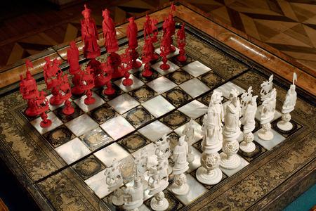 tsarskoye: Tsarskoye Selo, Russia - 05 March 2015: Ivory chess Tsarskoye Selo flat at Pushkin Palace near Saint Petersburg Editorial
