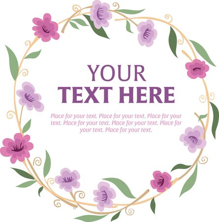 various: Round wreath of various ornamental flowers with space for text.