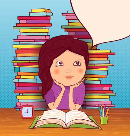 Little girl dreams of lessons with books on background.