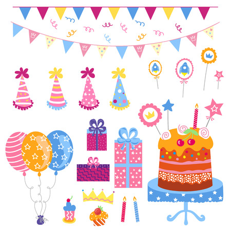 birthday cakes: Big set of celebratory attributes such as birthday celebrations.