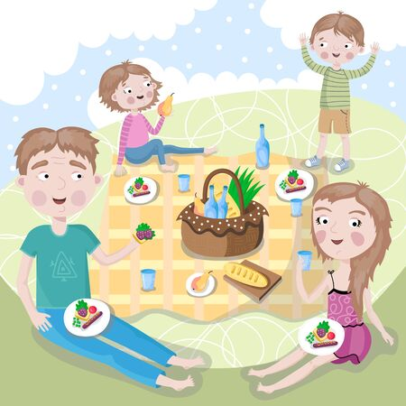 eat healthy: The family spends a weekend together outdoors. Illustration