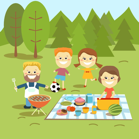 family on grass: The family spends a weekend together outdoors. Illustration