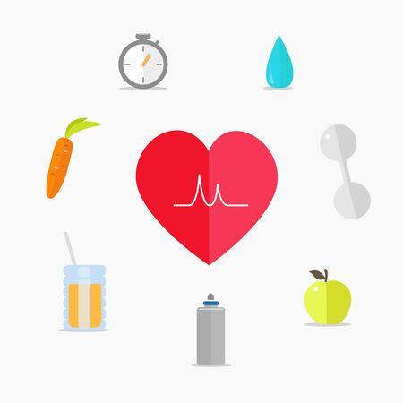 vida sana: Estilo de vida saludable. Iconos del vector en un estilo plano. Vectores