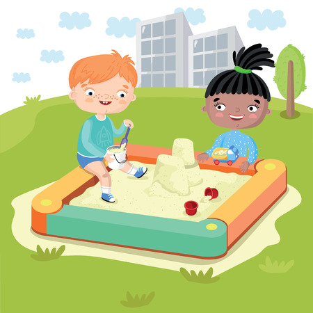 multicultural: Childrens world without prejudice. Multicultural characters children play together on the Playground. Vector illustration.