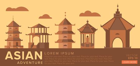 for example: The traditional architecture of Asia for example pagodas. Vector illustration.