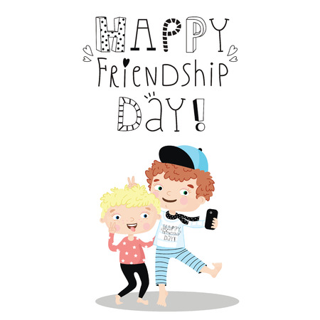 holiday celebrations: Happy Friendship Day card. Vector illustration with original text message.