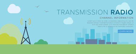 telecommunication: Wireless Communications. Transfer of radio waves. Flat Vector Illustration.