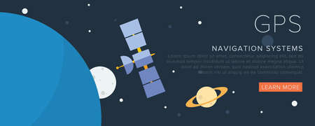satellite navigation: GPS Satellite on the space. Flat vector illustration.