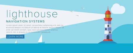 lighthouse: Classic marine navigation, lighthouse. Flat vector illustration. Illustration