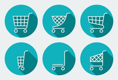 supermarket trolley: Set of supermarket trolley. Flat Vector Illustration.