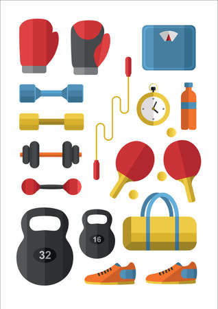 powe: Set of Gym icons. Sport series. Flat Vector Icons.