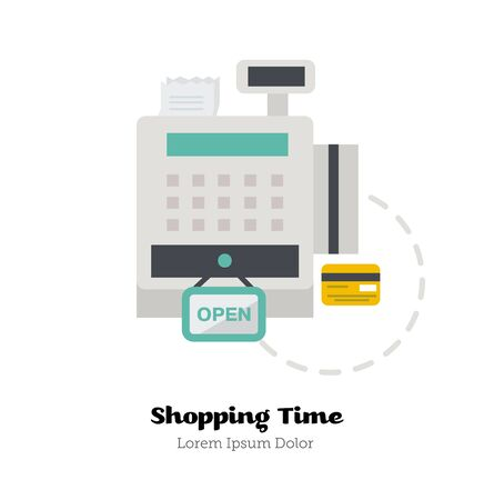 Icon of Cash Register with credit card. Flat Vector Illustration. Zdjęcie Seryjne - 42796047