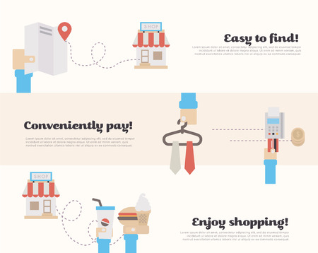 easy money: Process of finding on the map, buying with credit card and use of the product in the supermarket. Flat Vector Illustration.