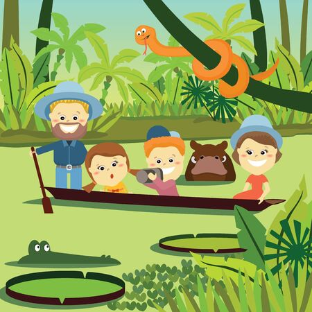 jungle vector: Family weekend. The family in the jungle Vector Illustration.