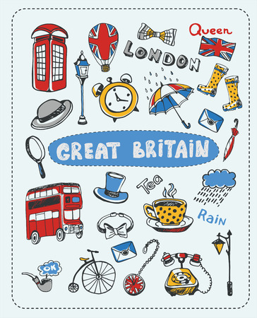 handdrawn: Doodle set the most famous objects of in England. Vector Illustration.