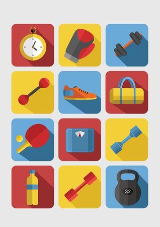 salud y deporte: Conjunto de iconos de gimnasio. Serie del deporte. Iconos vectoriales planas. Foto de archivo