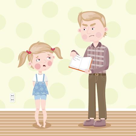 scold: Father scolds her daughter for school homework. Vector illustration. Illustration