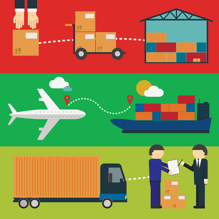 delivery: Logistic infographics Set. Process of Delivery abstract goods the Warehouse, Aircraft, Marine Container transportation and delivery of the goods by the customer. Flat Vector Illustration. Illustration