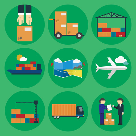 with sets of elements: Logistic icon set. Process of Delivery abstract goods the Warehouse, Aircraft, Marine Container transportation and delivery of the goods by the customer. Flat Vector Illustration.