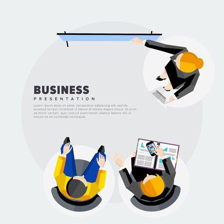 investors: Presentation of the project to investors. Flat vector illustration.