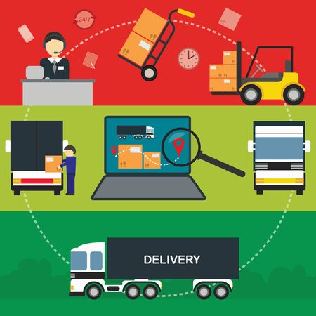 aplication: Logistic Infographics banners set for Web or Mobile aplication. Process of Delivery abstract goods. Flat Vector Illustration.