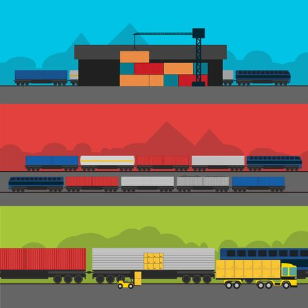 aplication: Logistic Infographics banners set for Web or Mobile aplication. Process of Delivery abstract goods by rail. Flat Vector Illustration.