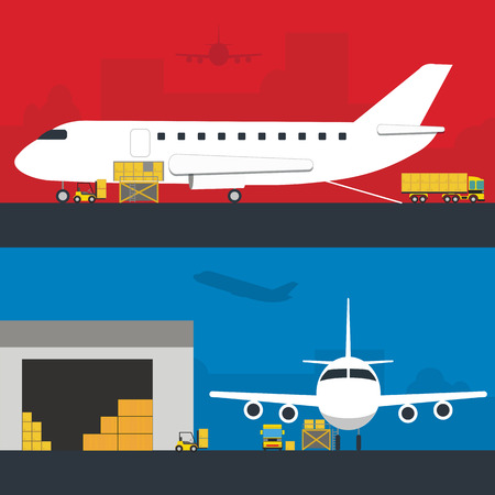 aplication: Logistic Infographics banners set for Web or Mobile aplication. Process of Delivery abstract goods in airport terminal. Flat Vector Illustration. Illustration