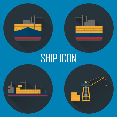 sea port: Logistic icon set. Process of Delivery abstract goods by the ship to sea port. Flat Vector Illustration.