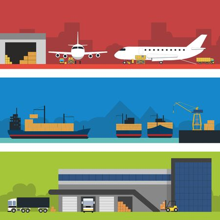 aplication: Logistic Infographics banners set for Web or Mobile aplication. Process of Delivery abstract goods by airport terminal and sea port to warehouse. Flat Vector Illustration. Illustration