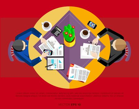 negotiations: Business negotiations. People sit at the table. Flat vector illustration. Illustration
