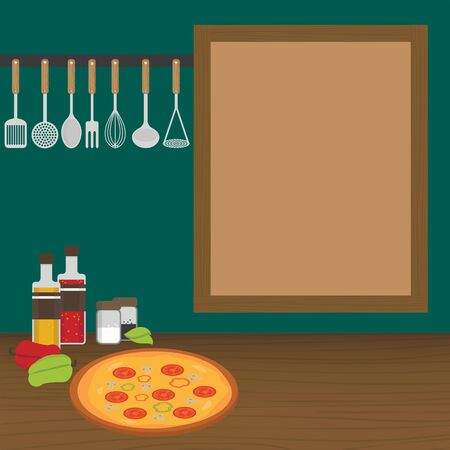 weighs: Kitchen utensils weighs on a wall in the kitchen. Vector illustration. Illustration