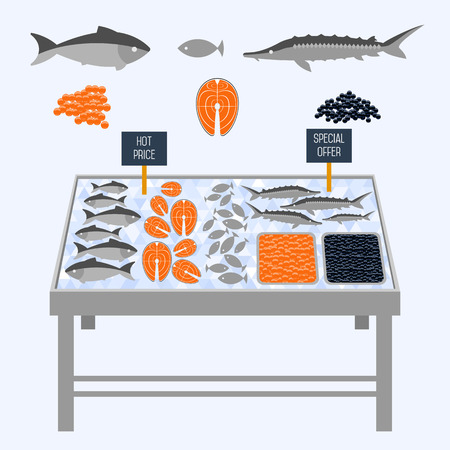 Supermarket shelves with fresh fish on ice cubes. Vector illustration.