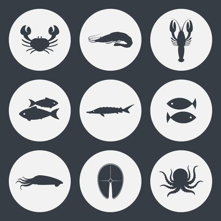 mariscos: Iconos Mariscos conjunto de vectores. Cangrejo, camarones, pescado y otros. Vectores