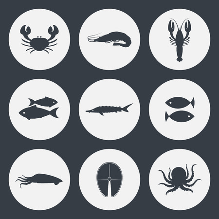 crab: Seafood vector icons set. Crab, shrimp, fish and other.