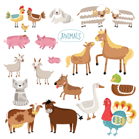 other: Vector illustration of farm animals. Cat, dog, cow, pig, duck and many other vector animals isolated on white background.
