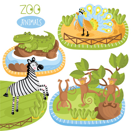 zoo as: Vector zoo animals. Such as zebra, crocodile and other.