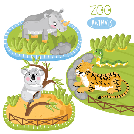 zoo as: Vector zoo animals. Such as panda, tiger and other.