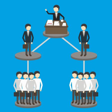 hierarchy: Business concept of hierarchy of management structure. Vector illustration. Illustration