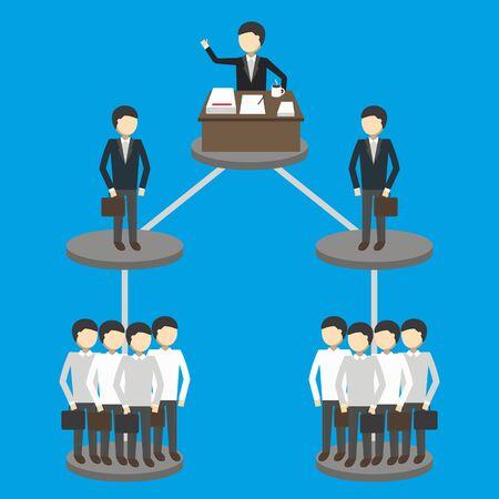 management concept: Business concept of hierarchy of management structure. Vector illustration. Illustration