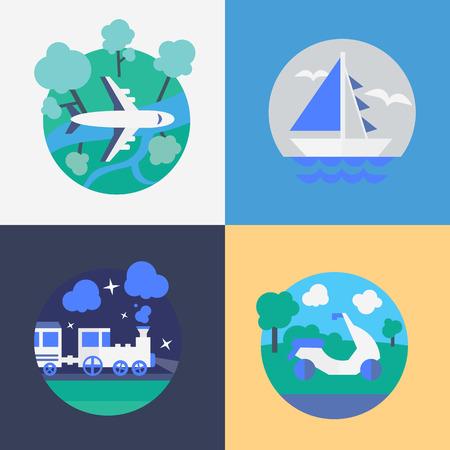 Different Methods of travel. Flat vector illustration. 向量圖像