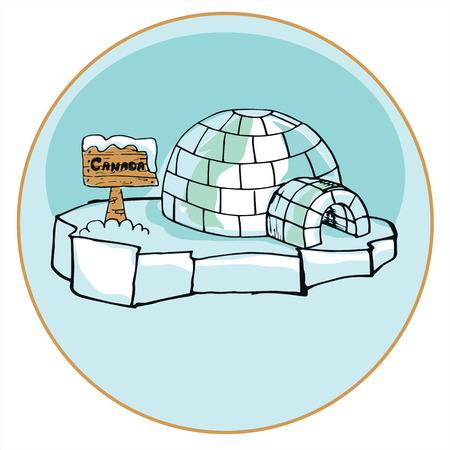 eskimos: Classic dwelling peoples of the far north. Eskimos Yurt. Illustration