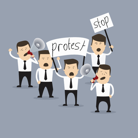 Business creative concept. People in crisis with banners protesting. Vector illustration.