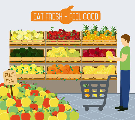 Shelves with vegetables in a supermarket. Vector illustration.