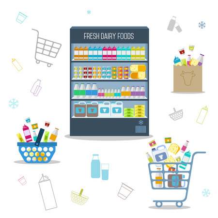 dairy products: Dairy products in the Supermarket shelves. Vector illustration. Illustration