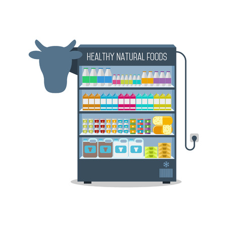 Dairy products in the Supermarket shelves. Vector illustration. Illustration