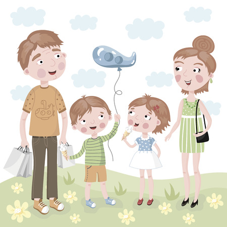 father daughter: Cheerful family, mother, father, daughter and son are smiling and after shopping at the store. Stock Photo