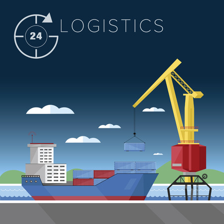 seaports: Logistics in seaports. Loading and unloading of containers, warehousing processes. Vector illustration of the flat.