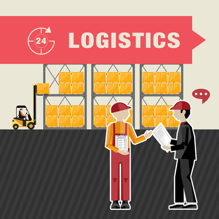warehouse worker: Warehouse processes. Loading cargo on shelves. Worker agree on a deal. Illustration