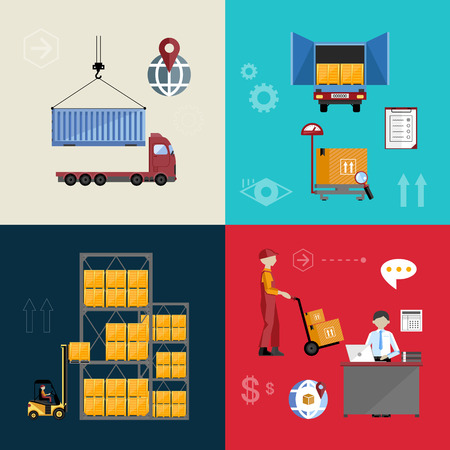 process industry: Infographics warehousing, logistics and business processes. The process of shipping and cargo management. Vector illustration of flat.